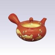 Tokoname Kyusu teapot - AKIRA - Yellow Flower - 360cc/ml - Obal ami stainless steel net