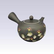 Tokoname Kyusu teapot - AKIRA - Red Flower - 400cc/ml - Obal ami stainless steel net