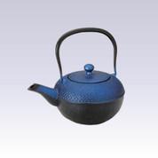 Nanbu Tetsubin - Arare Bright Blue - 0.4 Liter : Japanese cast iron teapot