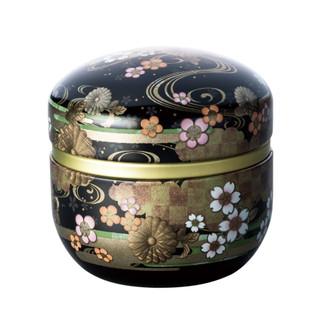 Black - suzuko-Kikusui steel tea caddy can