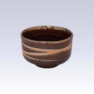 Tokoname-yaki - Mini matcha bowl - Spiral Amber glaze