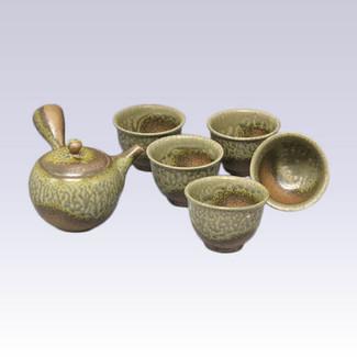 Tokoname Kyusu Teapot set - ISSIN - IRABO glaze - 330cc/ml - 1pot & 5yunomi cups with box