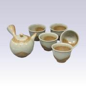 Tokoname Kyusu Teapot set - ISSIN - Gray glaze - 330cc/ml - 1pot & 5yunomi cups with box