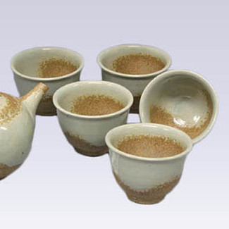 Tokoname Pottery Teacup set - ISSIN - Gray glaze - 5yunomi cups