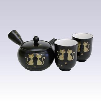 Tokoname Kyusu Teapot set - AKIRA - Tabby cat - 330cc/ml - 1pot & 2yunomi cups with box