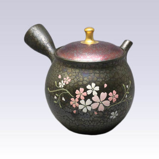 [Premium grade] Tokoname Kyusu teapot - SHORYU - TENMOKU SAKURA - 290cc/ml - ceramic mesh with wooden box