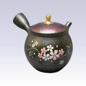 [Premium grade] Tokoname Kyusu teapot - SHORYU - TENMOKU SAKURA - 290cc/ml - Ceramic fine mesh with wooden box