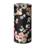 Black - Hanayose washi paper tea can caddy