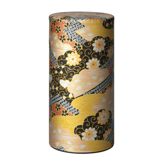 No.1 - Kogane-e (Yuzen) washi paper tea can caddy