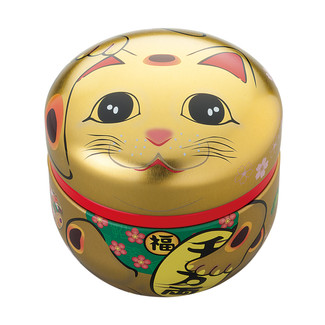 Gold - Suzuko-Maneki-neko Lucky cat steel tea caddy can