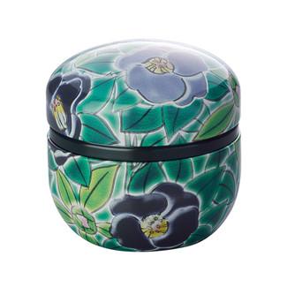 Green - Suzuko-Kutani Tsubaki Camellia steel tea caddy can