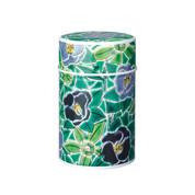 S/Green - Kutani Tsubaki Camellia steel tea caddy can