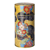 Yellow - Chirimen-Naomi steel tea caddy can