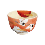 Kyo-yaki - Matcha bowl - KINSAI-SUNRISE-CRANE with box