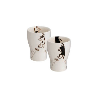 Arita-yaki Teacup mug set - Cat - 2 mugs