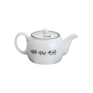 Arita-yaki Cat kyusu teapot - NEKO - 580cc/ml - Kago-ami stainless steel net