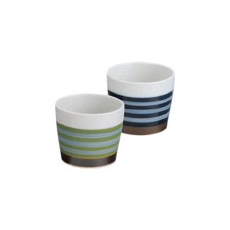 Hasami-yaki Teacup Yunomi set - Matte Border - 2 color - 2 Yunomis