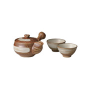 Shigaraki-yaki - YUEI - Teapot set - 1 Kyusu, 2 Chawans w box