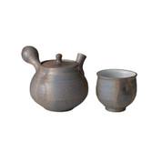 Shigaraki-yaki - IBUSHI - Teapot set - 1 Kyusu, 1 Chawan w box