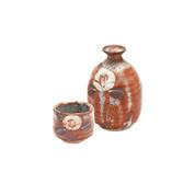 Red - Tokkuri Sake server bottle set - SHOUZAN - Shino - 1 Tokkuri Sake server bottle - 1 guinomi sake cup with wooden box