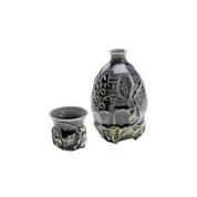 Tokkuri Sake server bottle set - KAKURIN - Purple - 1 Tokkuri sake server bottle & 1 guinomi sake cup - Mino ware
