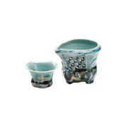 Iced Sake server set - KAKURIN - Blue White porcelain - 1 sake server & 1 guinomi sake cup - Mino ware