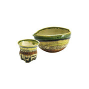 Iced Sake server set - KAKURIN - Yellow Green - 1 sake server & 1 guinomi sake cup - Mino ware