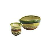 Iced Sake server set - KAKURIN - Yellow Green - 1 sake server & 1 guinomi sake cup - Mino ware