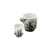 Iced Sake server set - KAKURIN - Line engraving - 1 sake server & 1 guinomi sake cup - Mino ware