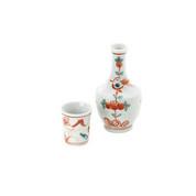 Tokkuri sake server bottle set - Red KACHO - 1 sake server bottle - 1 guinomi sake cup - Mino ware
