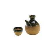 IGA-ORIBE Green - Spout tokkuri sake server bottle set - 1 sake server bottle - 1 sake cup