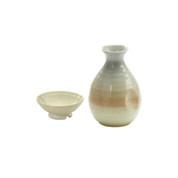 Tokkuri sake server bottle set - HAGI - 1 sake server bottle - 1 sakazuki flat sake cup - Mino ware