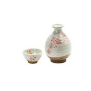 Tokkuri sake server bottle set - SAKURA - 1 sake server bottle - 1 sakazuki flat sake cup - Mino ware