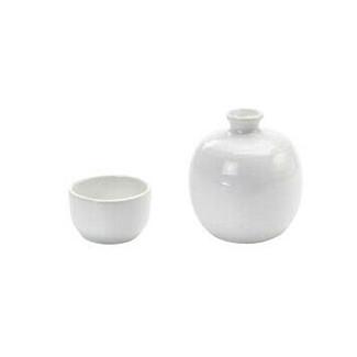 Apple shape small tokkuri sake server bottle set - HAKURYU - 1 sake server bottle - 1 sake cup - Mino ware