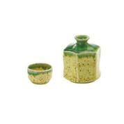 Hexagonal small tokkuri sake server bottle set - Oribe style - 1 sake server bottle - 1 sake cup - Mino ware