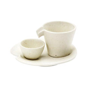 White - Iced sake server set - SHIZURU - 1 sake server - 1 sake cup - 1 plate - Mino ware
