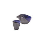 Black - Iced sake flat server set - 1 sake server - 1 sake cup - Mino ware