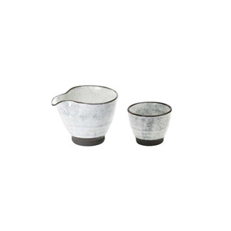 White - Iced sake server set - 1 sake server - 1 guinomi sake cup - Mino ware
