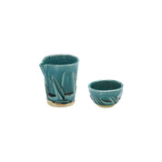 Iced sake server set - Turkey Blue - 1 sake server, 1 guinomi sake cup - Mino ware