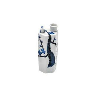 Whistling Tokkuri sake server bottle - Plum - Mino ware