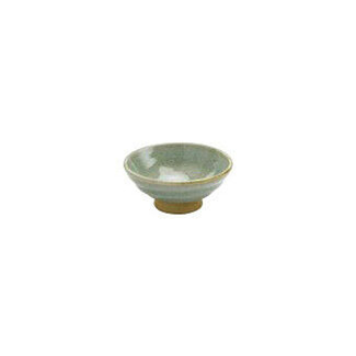 Shibukusa Green - Flat sake cup 60ml/cc - Mino ware