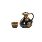 S(350ml/cc) - Sake hot server set - Tenmoku - 1 sake hot server, 1 sake cup - Mino ware
