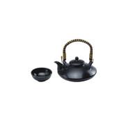 Upper handle - Sake hot server pot 480ml/cc with handle set - 1 sake hot server pot, 1 sakazuki flat sake cup - Mino ware