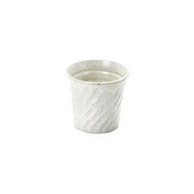 White - Spiral carving sake rock glass 300ml/cc - 3 color - Mino ware