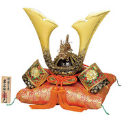 [Premium] Japanese Samurai Kabuto helmet - Dragon & Tiger - with cushion, box, tag - Japan import