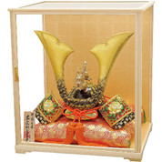 [Premium set] Japanese Samurai Kabuto helmet - Dragon & Tiger - with cushion, tag, glass case, box