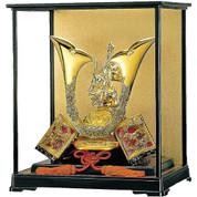 [Superior set] Japanese Samurai Kabuto helmet - Tiger & Dragon - with cushion, tag, glass case, box