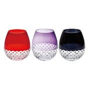 Edo Kiriko - Flower bud Arare - Tokyo glass ware - 3 color