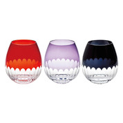 Edo Kiriko - Flower bud Kamaboko - Tokyo glass ware - 3 color