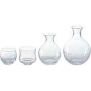 Round sake carafe & cup - Tokkuri server bottle, Guinomi - sake glass ware